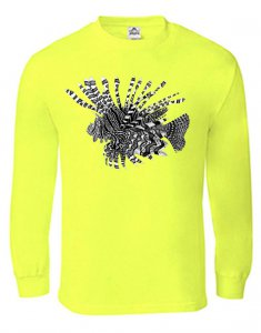 Hi-Vis yellow long sleeve Sport Tek lionfish shirt