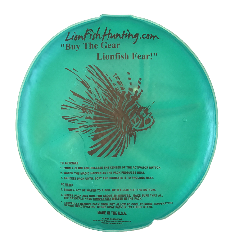 Reusable 10 inch diameter round heat pack for lionfish sting