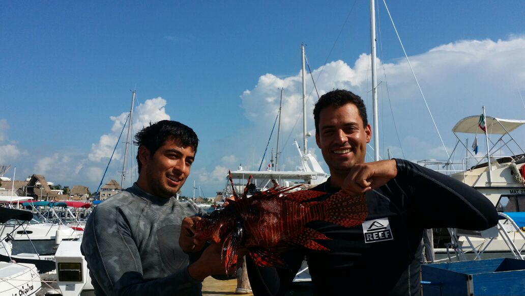 Jorge with his giant Lionfish