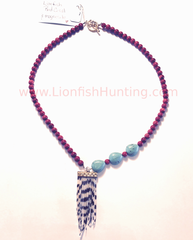 Red coral and turquoise lionfish necklace