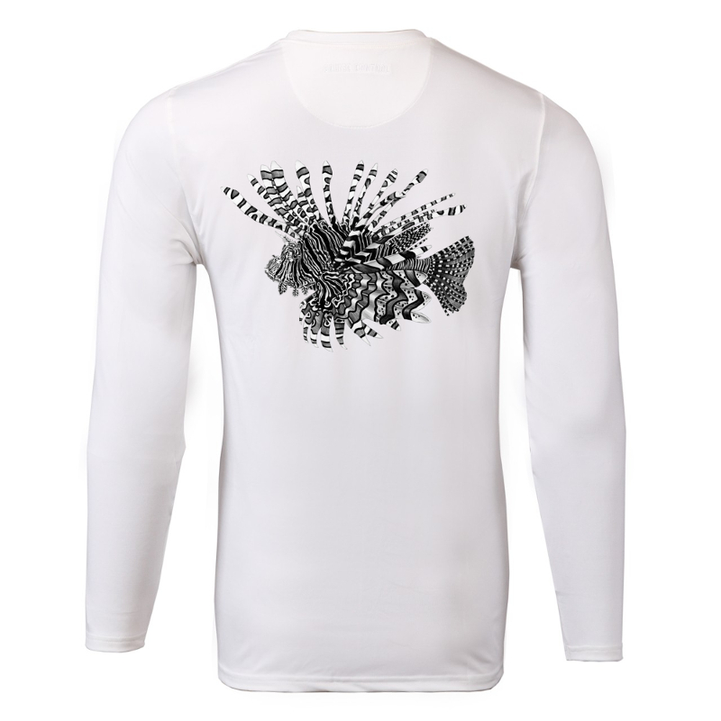 White long sleeve Sport Tek lionfish shirt